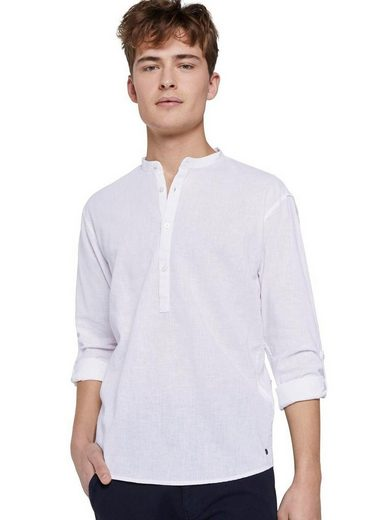 TOM TAILOR Denim Langarmhemd mit Serafino-Ausschnitt