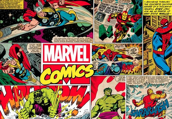 Art for the home Fototapete »Marvel Comics Mural«, 190 cm Länge