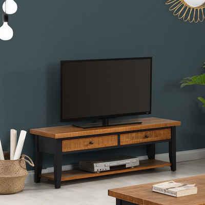 B&D home TV-Board »TV Schrank 14301«, TV-Schrank mit 2 Schubladen, Lowboard, TV-Regal, Fernsehtisch, Fernsehschrank, für Fernseher bis 55 Zoll, Kieferholz massiv, retro