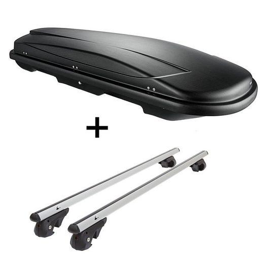VDP Fahrradträger, Skibox VDPJUXT400 400Ltr schwarz abschließbar + Alu Relingträger VDP004L kompatibel mit VW Golf III Variant Kombi 1H 94-98