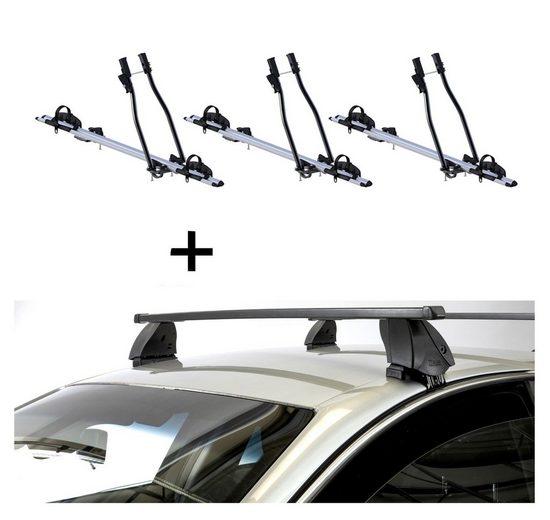 VDP Fahrradträger, 3x Fahrradträger SAGITTAR + Dachträger K1 MEDIUM kompatibel mit Chevrolet Kalos (T200) (5Türer) 02-08