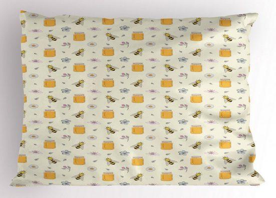 Abakuhaus Kissenbezug »Dekorativer Standard King Size Gedruckter Kissenbezug,«, Biene Honig-Gläser Insekten- und Blumen