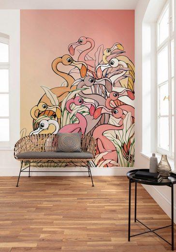 Komar Fototapete »Flamingos and Lillys«, glatt, mehrfarbig, Comic, (Packung)