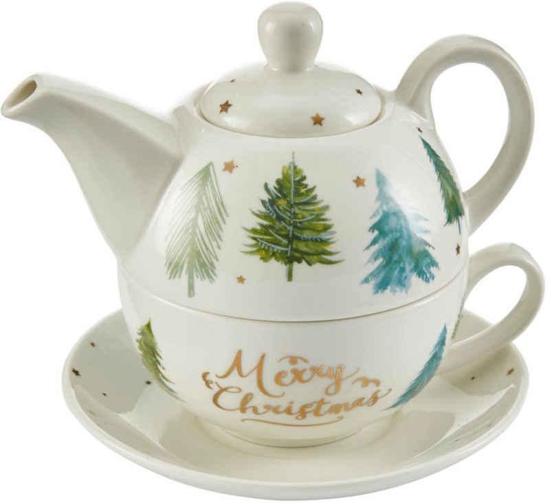Teekanne »Scandi«, handbemalt, mit Weihnachtsmotiv
