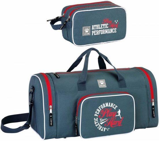 TOP! Sporttasche »Kelme - XL Sporttasche und Kulturbeutel, grau« (Reißverschluss, Jungen), Geringes-Gewicht