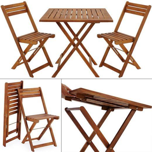 Deuba Balkonset, Akazien Holz 2x Klappstuhl + 1 Tisch 60 x 60 cm klappbar Balkon Garten Möbel Bistroset Sitzgruppe