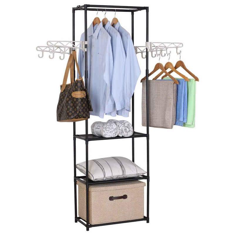 Woltu Kleiderständer, Kleiderstange Garderobenständer mit Ablage schwarz