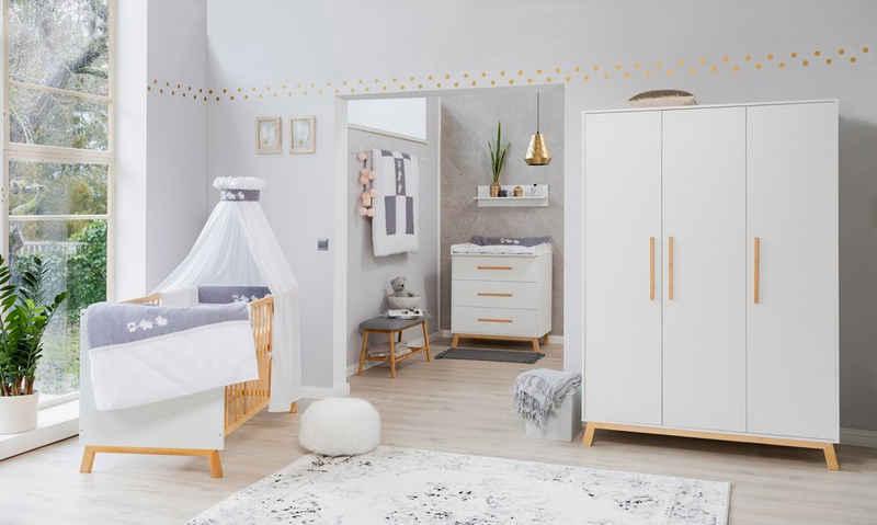 Schardt Babyzimmer-Komplettset »Sienna White«, (Set, 3-St), Made in Germany; mit Kinderbett, Schrank und Wickelkommode