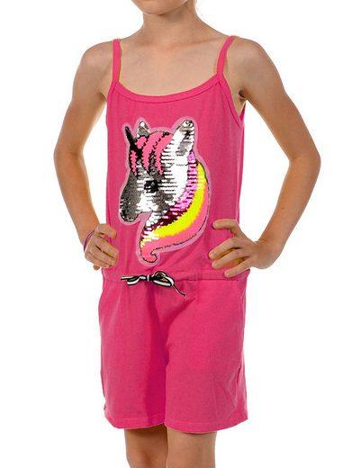 KMISSO Jumpsuit »Mädchen Jumpsuit kurz Wendepailletten Einhorn« (1-tlg) elastischer Bund
