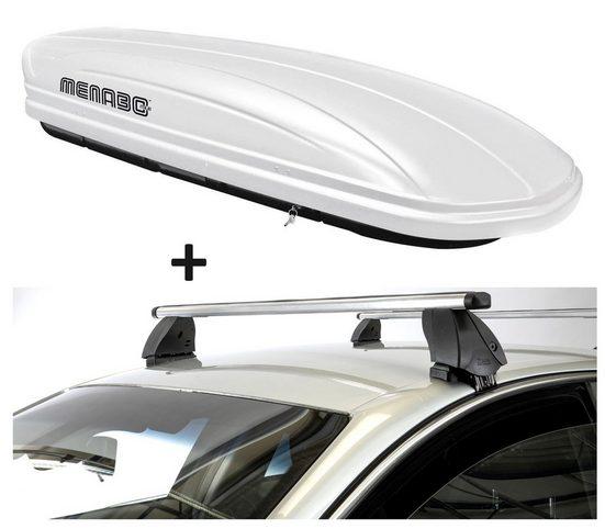 VDP Fahrradträger, Dachbox VDPMAA320 320 Liter abschließbar weiß + Dachträger K1 PRO Aluminium kompatibel mit Kia Venga (ohne Glasdach) (5Türer) ab 14