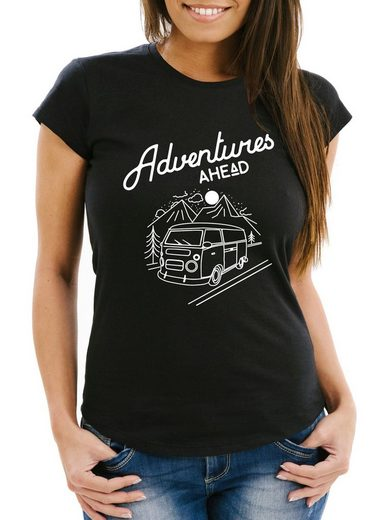 MoonWorks Print-Shirt »Damen T-Shirt Adventures Ahead Slim Fit Moonworks®« mit Print