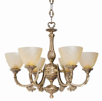 Licht-Erlebnisse Kronleuchter »ELISA«, Pendelleuchte aus Messing bronziert Premium E14 Jugendstil Esszimmer