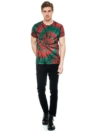 Rusty Neal T-Shirt mit coolem Batik-Print
