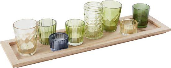 INOSIGN Kerzentablett, mit 8 bunten Teelichthaltern aus Glas