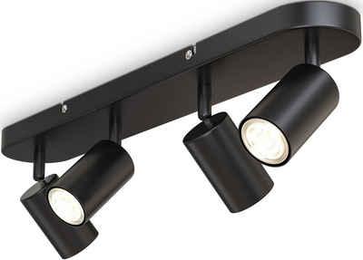 B.K.Licht Deckenspots, 4-flammige Spotlampe,schwenkbar, drehbar, GU10, Schwarz, ohne Leuchtmittel