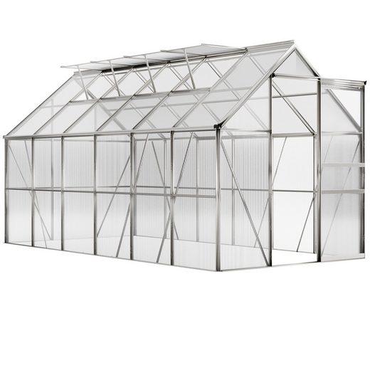 Gardebruk Gewächshaus, Aluminium 7,2m² 380x190cm inkl. 4 Dachfenster Treibhaus Garten Frühbeet Pflanzenhaus Aufzucht 11,73m³