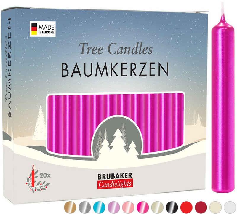 BRUBAKER Tafelkerze »Baumkerzen aus Wachs« (1 Packung Christbaumkerzen, 20-tlg), rauchfreie und geruchsneutrale Pyramidenkerzen
