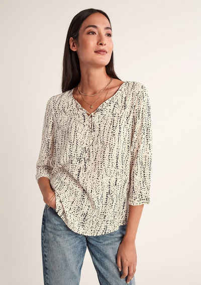 comma casual identity 3/4-Arm-Shirt »Lockere Bluse mit Allovermuster« (1-tlg)