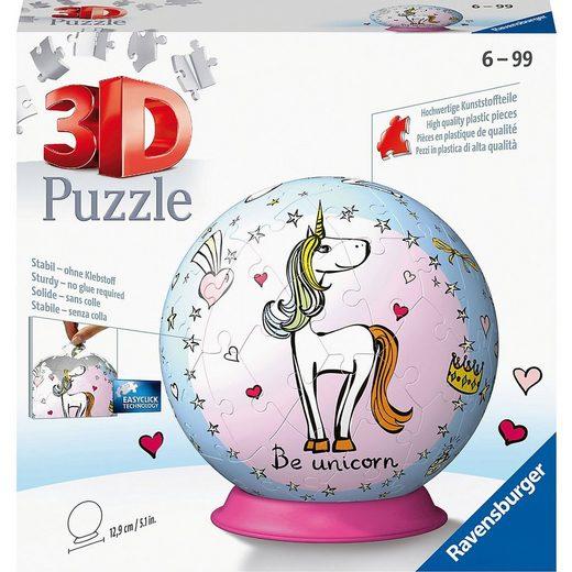 Ravensburger 3D-Puzzle »puzzleball® Ø13 cm, 72 Teile, Einhorn«, Puzzleteile