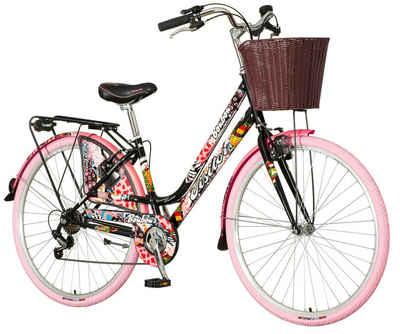 breluxx Cityrad »28 Zoll Damenfahrrad Venera Fashion Bonbon Citybike mit Korb + Licht, Retro Bike«, 6 Gang Shimano Tourney Schaltwerk, Kettenschaltung