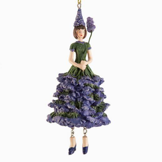 ROSEMARIE SCHULZ Heidelberg Dekofigur »Blumenmädchen Lavendel zum Hängen Dekohänger Blumen Deko-Objekt«, handbemalte Figur aus Kunststein