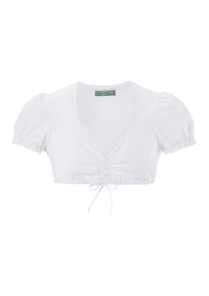 Damen Country Line Dirndlbluse Teenie mit Raffband weiß | 04250703741502