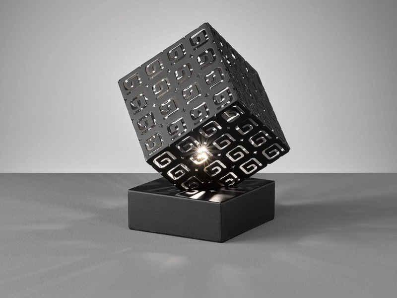 FHL easy! LED Nachttischlampe, kleine Bauhaus Lampe Schwarz Lampenschirm eckig – ausgefallene Design Tischbeleuchtung für die Fensterbank