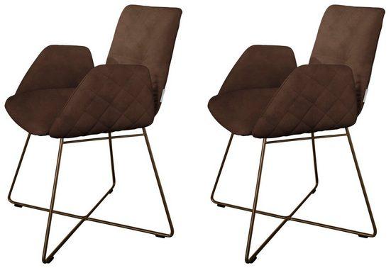 W.SCHILLIG Armlehnstuhl »lotta« (Set, 2 Stück), 2er- oder 4er-Set, mit Rücken- & Seitenteilsteppung, Drahtrohrgestell in Bronze pulverbeschichtet
