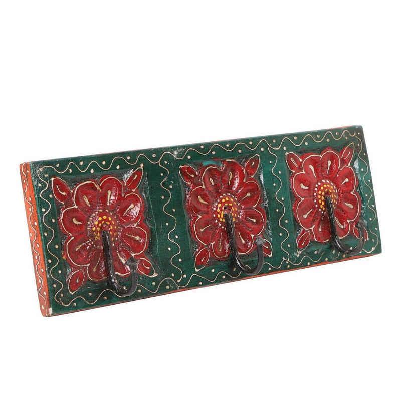 Casa Moro Garderobenleiste »Orientalische Kleiderhaken Amita E handbemalte Hakenleiste mit 3 Haken 34,5x11,5x6 cm (B/H/T) mit schönen bunten Blumenmustern aus massiv Holz geschnitzt, MA12-03-E«