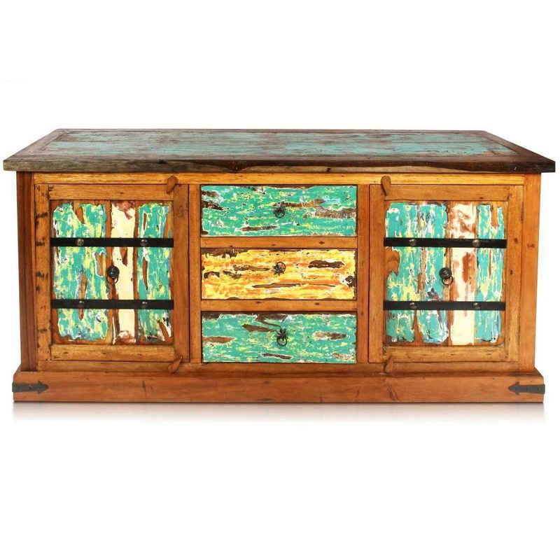 Oriental Galerie Wandregal »Massivholz Sideboard mit Türen und Schubladen 180 cm«, Handarbeit
