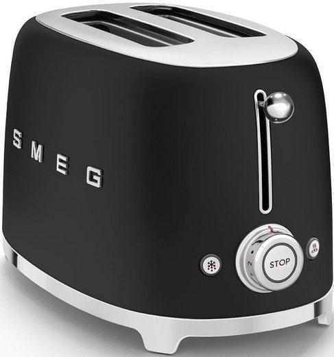 Smeg Toaster TSF01BLMEU, 2 kurze Schlitze, 950 W