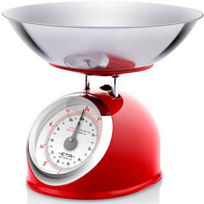 eta Küchenwaage »STORIO rot ETA577790030 Retro«, (2-tlg), analog, Ganzmetall-Design mit einer Edelstahlschale