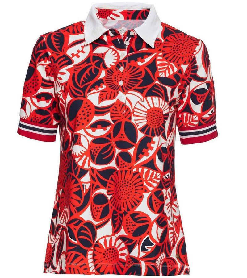Schneiders Poloshirt »SCHNEIDERS Pique-Polo-Shirt sommerliches Polo-Hemd für Damen mit floralem Muster Freizeit-Shirt Rot«