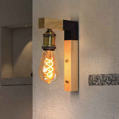 ZMH Wandleuchte »vintage Wandleuchte Wandlampe innen Holz E27 Wandbeleuchtung Industrie Industrielampe für Flur Landhaus Schlafzimmer Wohnzimmer Esstisch«