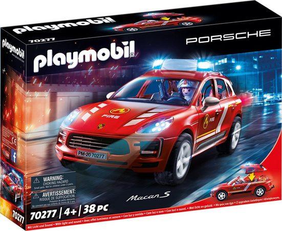 Playmobil® Konstruktions-Spielset »Porsche Macan S Feuerwehr (70277), City Action«, mit Licht- und Sound; Made in Germany