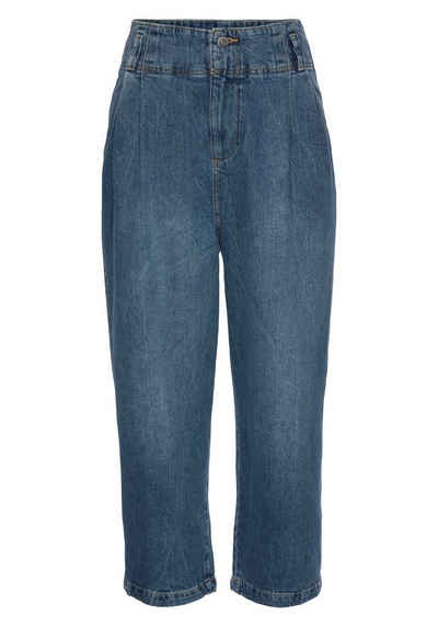 edc by Esprit High-waist-Jeans mit Bundfalten und weiter Beinform