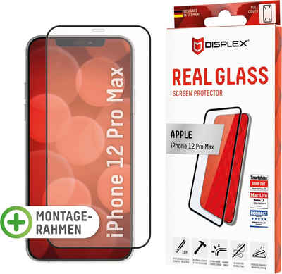 Displex »DISPLEX Real Glass Panzerglas für Apple iPhone 12 Pro Max (6,7), 10H Tempered Glass, mit Montagerahmen, Full Cover« für Apple iPhone 12 Pro Max, Displayschutzglas