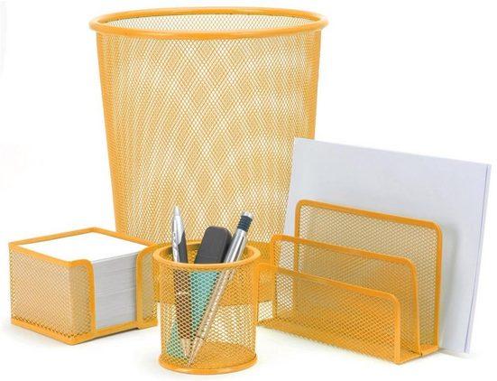 made2trade Aufbewahrungsbox »4-teiliges Büroset«, mit Papierkorb, Stiftebecher, Notizblockspender und Briefhalter