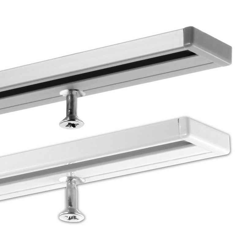 Gardinenschiene »Vorhangschiene in Aluminium, 1-läufig und sehr flach, ab 2 m mittig geteilt«, Gardineum, 1-läufig