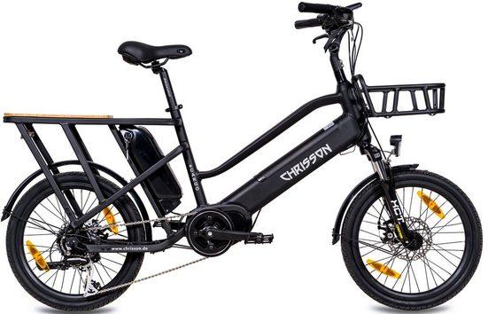 Chrisson E-Bike »eCargo«, 8 Gang Shimano Acera RD-M360 Schaltwerk, Kettenschaltung, Mittelmotor 250 W