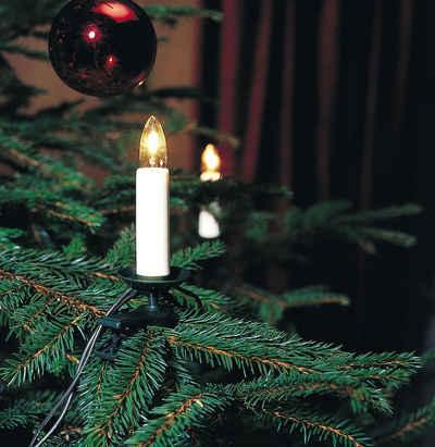 KONSTSMIDE LED-Christbaumkerzen, 25-flammig, LED Baumkette, Topbirnen, One String, 25 warm weiße Dioden