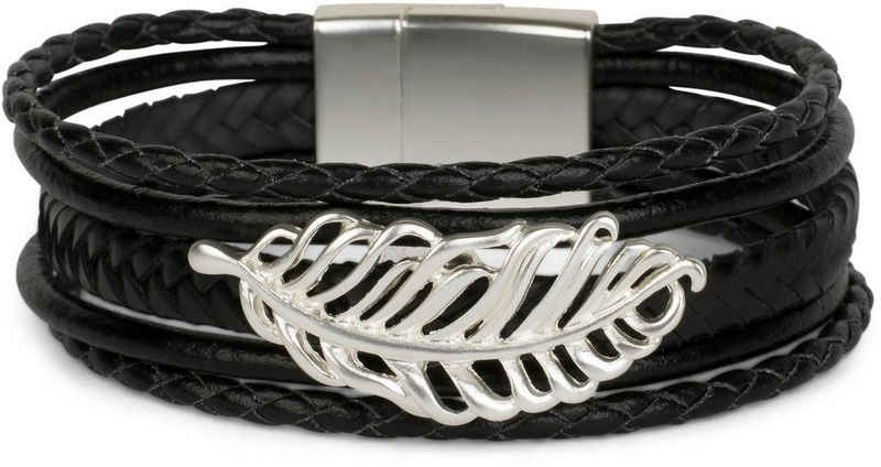 styleBREAKER Wickelarmband »Flecht Armband mit Feder Schmuck Element«, Flecht Armband mit Feder Schmuck Element