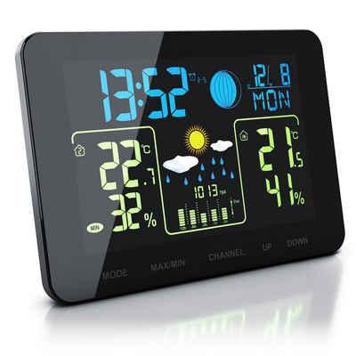 BEARWARE Wetterstation (mit Außensensor, Funk Wetterstation mit Farb Display & Außensensor Barometer, Wettervorhersage uvm)