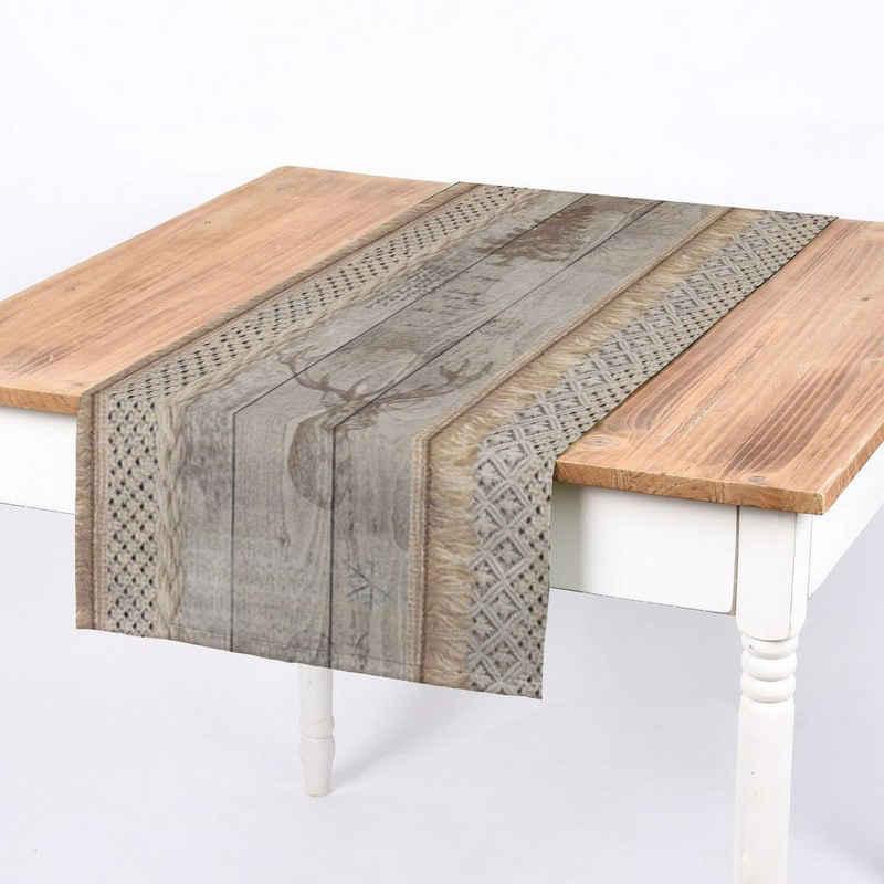 SCHÖNER LEBEN. Tischband »SCHÖNER LEBEN. Tischläufer Holz Latten Hirschkopf natur braun 40x160cm«, handmade