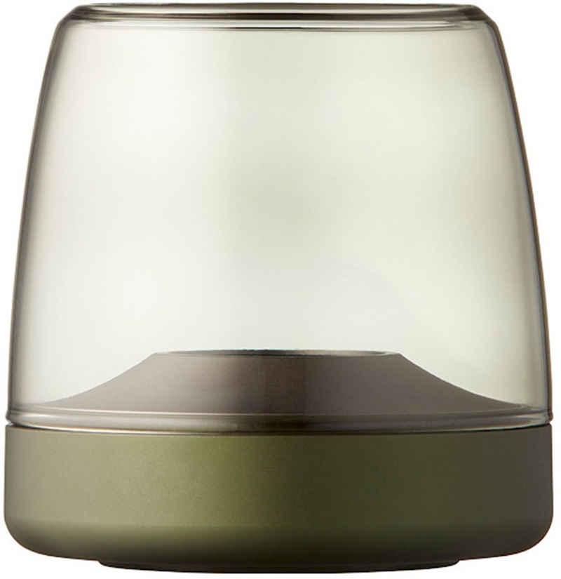 kooduu Windlicht »Glow 10«, Luxuswindlicht, aus gebürstetem Aluminum und Rauchglas