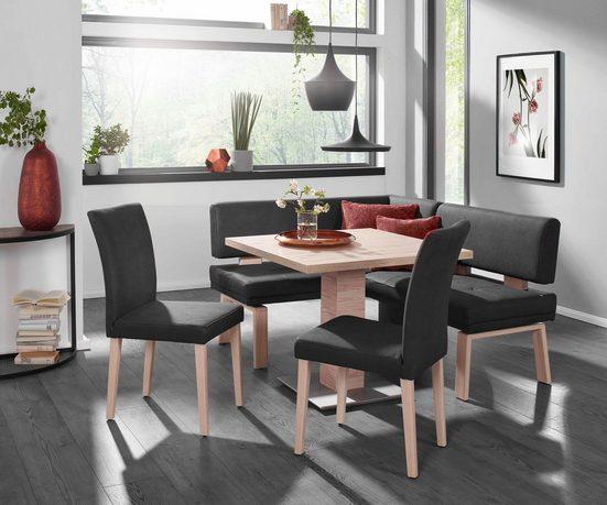 K+W Komfort & Wohnen Eckbankgruppe »SANTOS I«, (Set), wahlweise rechts/links langer Schenkel 157cm, zwei 4-Fußholzstühle und Tisch 90x90cm in SanRemo Eiche lackiert