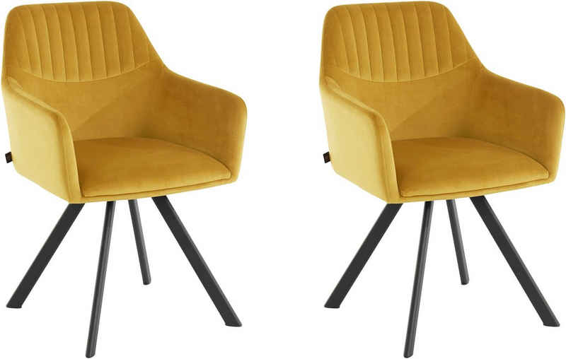 Leonique Armlehnstuhl »Lorianne« (2 Stück), im 2er Set erhältlich, mit schwarzen Metallbeinen, 360° Drehfunktion, in verschiedenen Farbvarianten enthältlich, Sitzhöhe 47 cm