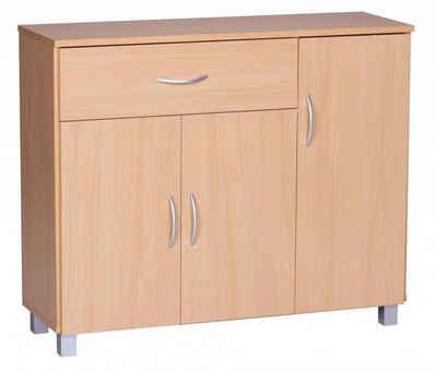 FINEBUY Sideboard »SuVa1590_1«, Design Sideboard JERRY 90 x 75 x 30 cm, Schränkchen mit 1 Schublade 3 Türen, Moderne Schlafzimmer Kommode, Anrichte Esszimmer, Schmaler Schuhschrank mit Schublade