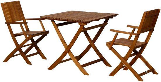 SIENA GARDEN Gartenmöbelset »Falun SET«, 3-tlg., Akazienholz, 2 Sessel, Tisch 80x80 cm