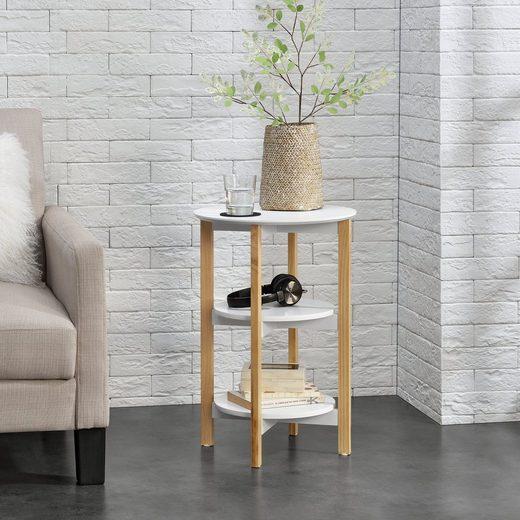 en.casa Beistelltisch, Runder Beistelltisch »Bilbao« - 60x40x40cm - Weiß